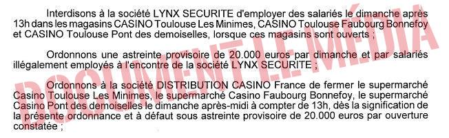 [INFO Le Média] - Travail dominical: la justice ordonne la fermeture de supermarchés Casino à Toulouse